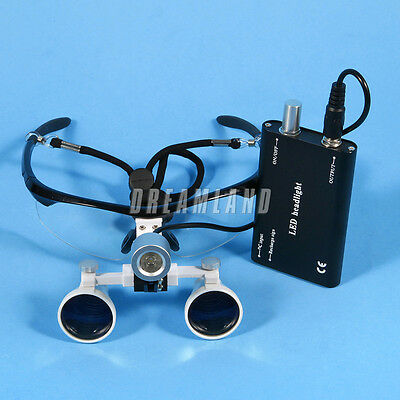 Dental Surgical 3.5x Binocular Magnifier Glasses Loupes Led Head Light Battery