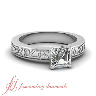 .90 Carat White Gold Solitaire Asscher Cut Diamond Rings For Her GIA Certified
