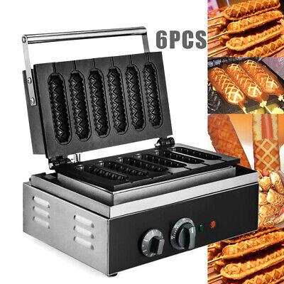 Commercial 14x4cm Waffle Maker Hot Dog Crispy Machine 6pcs 1500w Stainless Steel