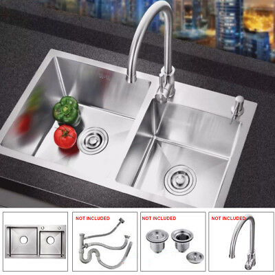 "30""x16"" Double Bowl Stainless Steel Undermount Mount Kitchen Sink Dual Basin"