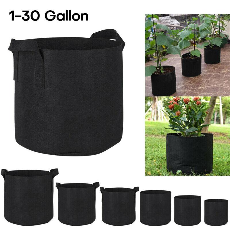 10pcs Fabric Root Pots Smart Plant Grow Pot Bags 1/2/3/5/7/10/15/20/30 Gallon