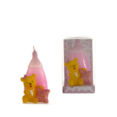 Mega Favors - Teddy Bear in Front of Baby Bottle Candle - Pink, 12PCS ()
