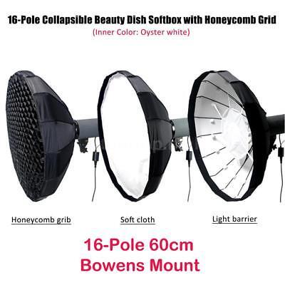 16-Pole 60CM Folding Beauty Dish Light Softbox with Honeycomb Grid Bowens Mount