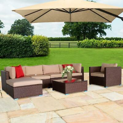 Garden Furniture - 7PCS Outdoor Patio Sectional Furniture PE Wicker Rattan Sofa Set Garden Yard