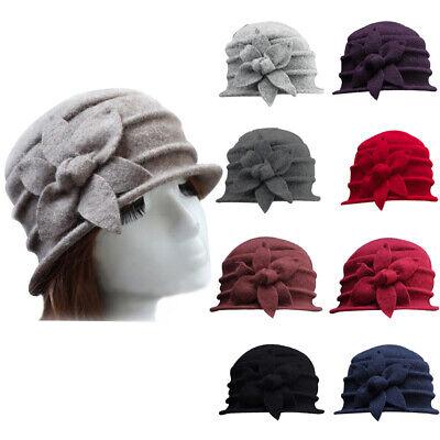 HOT Women Wool Flower Felt Bucket Hat winter Church Dress Cloche Beanie Cap USA Bucket Church Hat