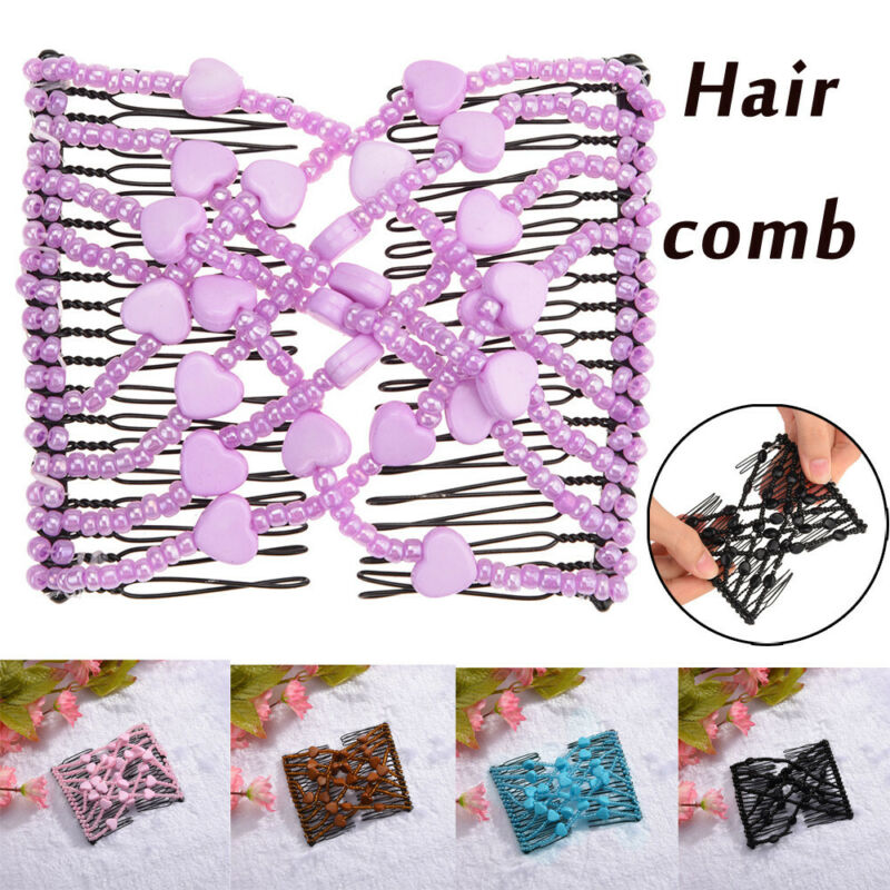 Bead Stretchy Women Hair Combs Double Magic Slide Metal Comb