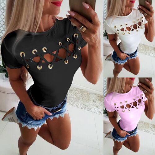 DE Damen Sexy Hohle T-Shirt Kurzarmshirt Bluse Clubwear Oberteile Slim Top S-2XL