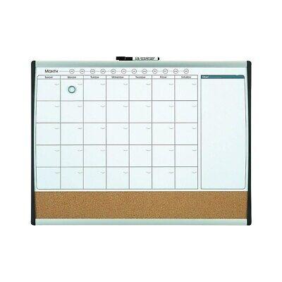 Staples Magnetic Comb. Calendar Bd Dry-Erase & Cork Black/Silver Frame 17x23 ()