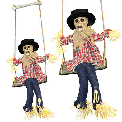 HANGING SCARECROW ANIMATED HALLOWEEN PROP SOUND ACTIVATED MOVING LED EYES CREEPY ()
