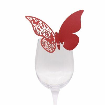 Place Cards For Wedding (50x Butterfly Wedding Name Place Cards For Wine Glass Laser Cut Pearlescent)