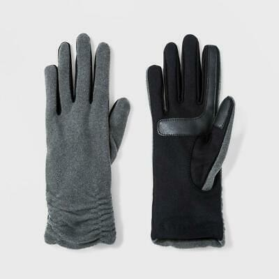Isotoner Women's SmartDRI Ruched Fleece with Smart Touch Unlined Gloves Gray