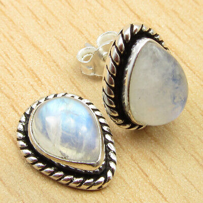 Drop Rainbow Moonstone ETHNIC Earrings 0.6
