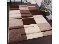 **SOLD** Karo Muster Designer Rug with Contour Cutting Beige / Brown 120x170 cm (Brand New Unopened)