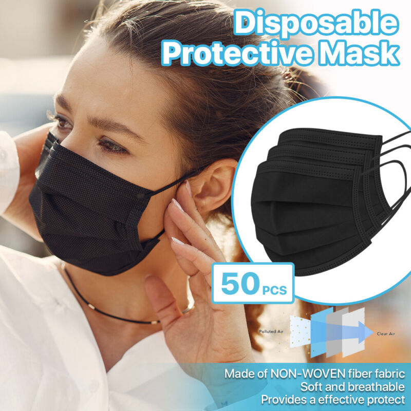 [Black] 50 Pcs Disposable Face Masks 3-Ply Non Medical Surgical Earloop Cover