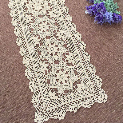 Handmade Crochet Lace Table Runner Beige Cotton Floral Pattern Table Decoration (Beige Table Runner)