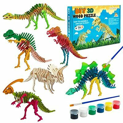 3D Dinosaur Wooden Puzzle Set Contains 6 Puzzles, Paints And 1 Pen Colorful Box