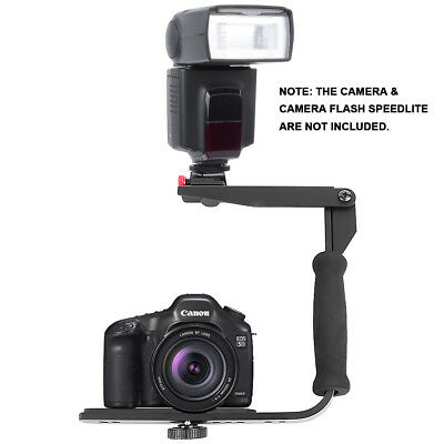 Quick-Flip Rotating Flash Bracket Grip Flash Arm Holder Stand For DSLR Camera