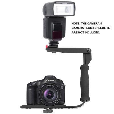 Quick-Flip Flash Bracket Grip Flash Arm Holder Stand For Canon Nikon DSLR Camera