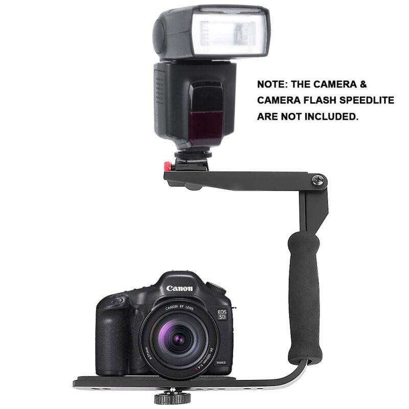 Quick-Flip Rotating Flash Bracket Grip Flash Arm Holder Stand For DSLR Camera