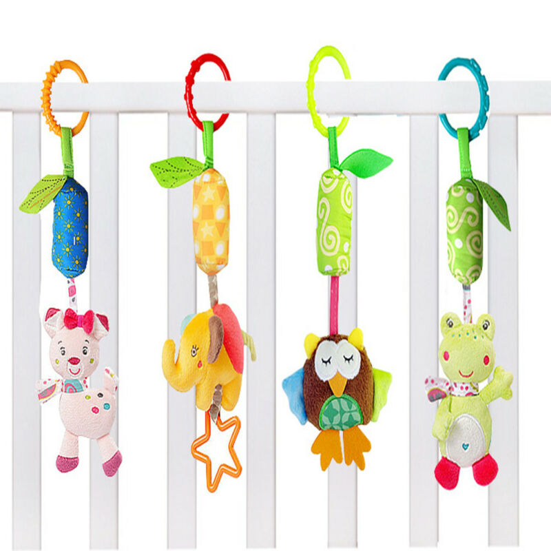 Cartoon Animal Shaped Hand Shaking Press Bell Rattles Baby Early Educational Toy