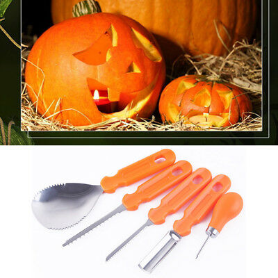 Halloween Orange Pumpkin Pro Carving Kit Tools Party Decoration Stencil 5Pcs BJ