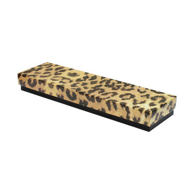 8 X 2 Jewelry Gift Boxes Cotton Filled Batting Cardboard Leopard Print- 100 Pc