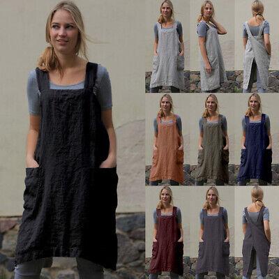 UK Womens Cotton Linen Cross Back Apron Housework Wrap Pinafore Dress Plus Size