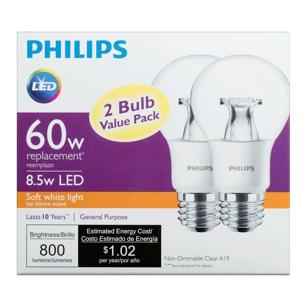 Philips LED Light Bulb, A19, Clear Soft White, 60 WE, 2 Ct