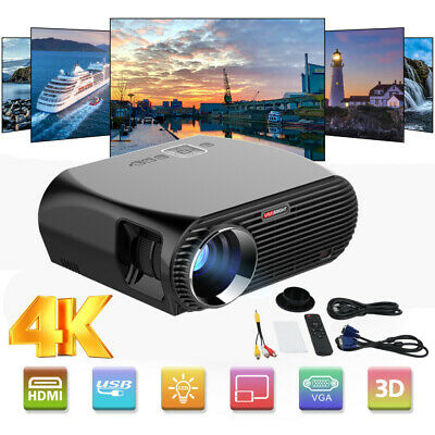 Smart LED Home Theater Projector 4K 1080p Full HD 3D Video Movie USB HDMI VGA HT