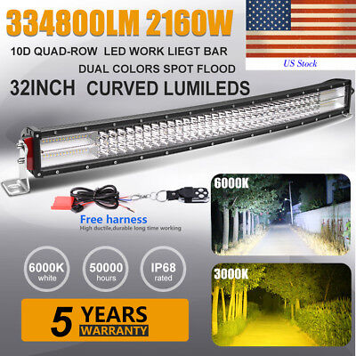 10D Quad Row 32inch 2160W Curved Led Light Bar Combo Offroad Jeep Dual Color 36""