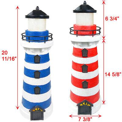 2 Red / Blue Outdoor Garden Solar 2 Amber LEDs Lighthouse Li