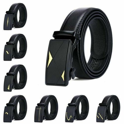 Celebrity Mens Black Leather Ratchet Belt Automatic Buckle Waistband Strap Waist