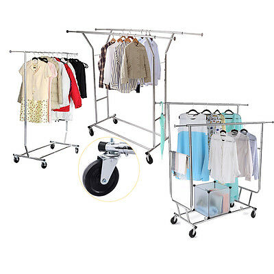 Singledouble Commercial Grade Portable Cloth Rolling Garment Rack Hanger Holder