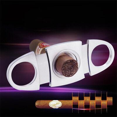 Edelstahl Zigarrenschneider Zigarren Cutter Double Twin Blade Tabakschere Silber