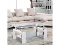 Stunning White Glass Rectangular Coffee Table with Chrome Bars - Great Condition