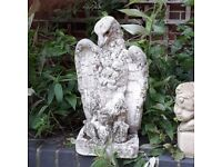 Vintage Reconstituted Stone Eagle Garden Statue Ornament