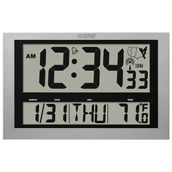 Oversized Atomic Office Wall Clock LCD Display Indoor Temp Time Day Date Alarm