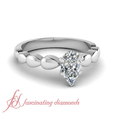 1/2 Ct Pear Shaped Diamond Solitaire Engagement Ring VS2-D Color GIA Certified