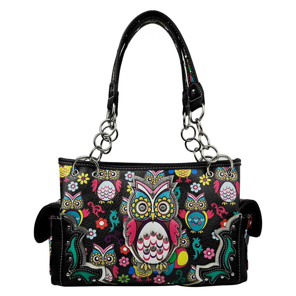 Western Style Top Handle Handbag Owl Purse Handbag Women Sho