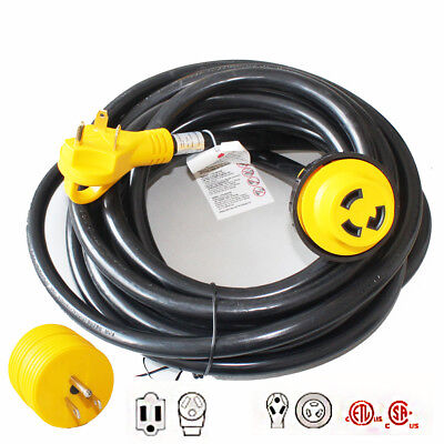 25FT 30A RV Motorhome Camper Power Extension Cord with15A to 30A Power Adapter