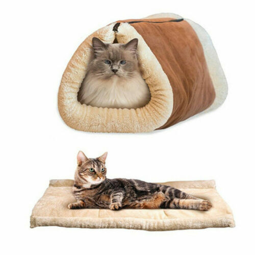 2 in 1 Pet Cat House Sleeping Bed Kennel Puppy Cave Super Soft Mat Pad Warm Nest