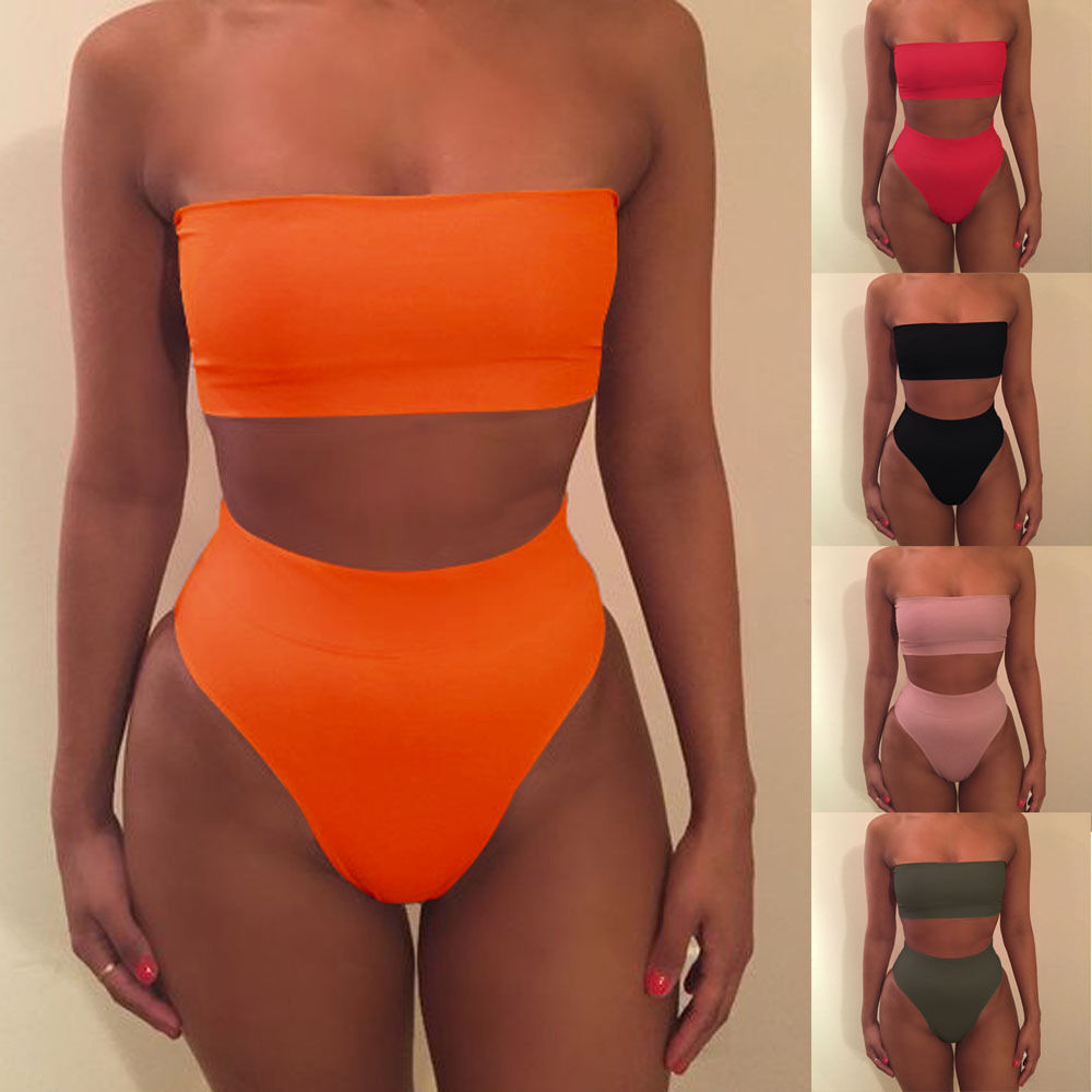 Damen Bandeau Bikini Set High Waist Bademode Badeanzug Push Up Schewimmanzug 42
