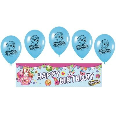 Shopkins Foil Happy Birthday Party Banner & Latex Balloons Set - D'Lish Cookie Happy Birthday Cookies