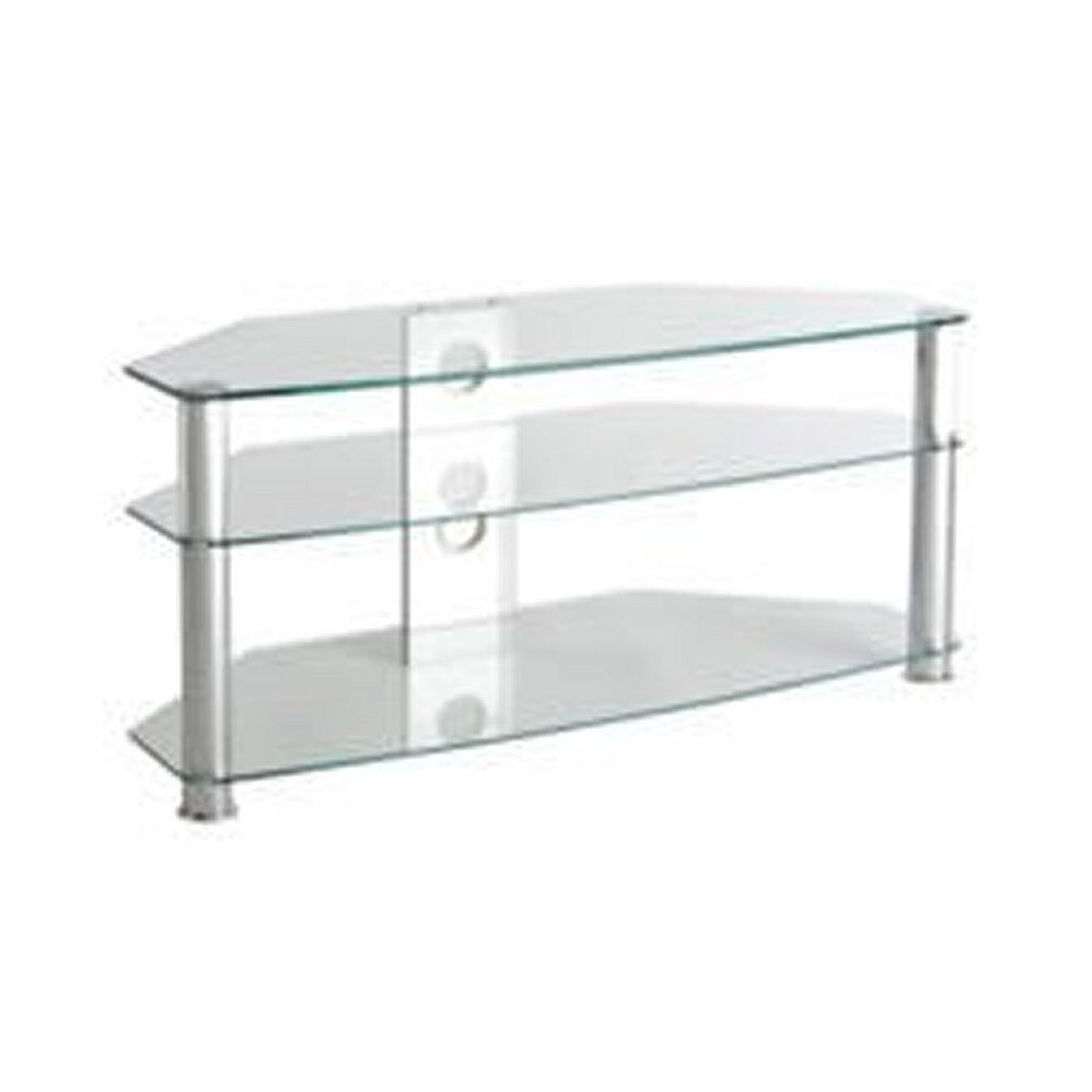b91a1ba09af CLEAR GLASS   CHROME CORNER TV STAND UNIT UP TO 55 60 INCH BRAND NEW BOXED