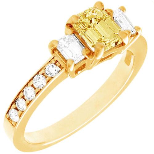 Diamond Engagement Ring GIA Certified Fancy Yellow Emerald Cut 18k Gold 2.31 CT 3