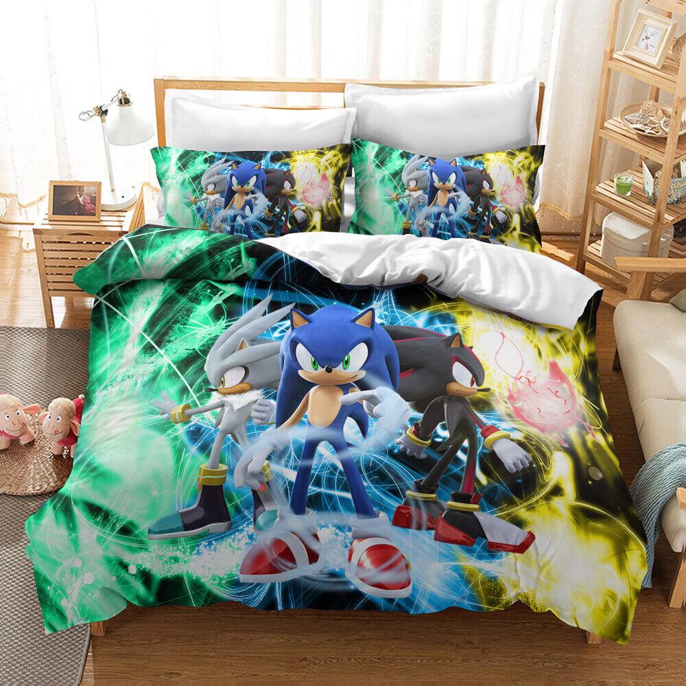 3d Sonic The Hedgehog Kids Bedding Set Duvet Cover Comforter Cover Pillowcase 3 Ebay