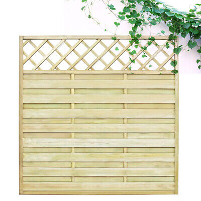 Wood Garden Lap Fence Panel with Trellis Screen Border Privacy 180x180 cm