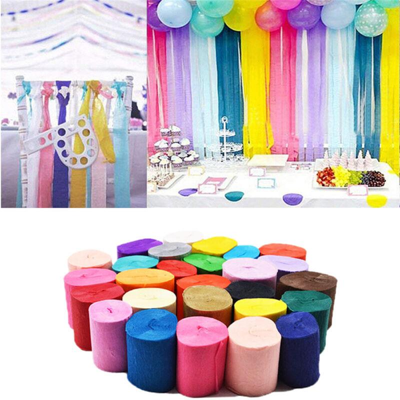 Children Handmade Crepe Paper Streamer 2 Roll Wedding Birthday Party Supplies