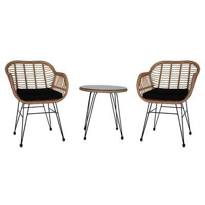 Garden Furniture - 3Pcs Wicker Rattan Patio Furniture Conversation Sofa Garden Outdoor Chairs Table