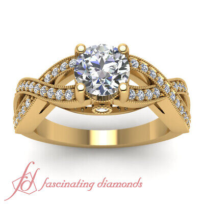 3/4 Carat Yellow Gold Round Cut Diamond Rings Intertwined Pave Set GIA Certified 1